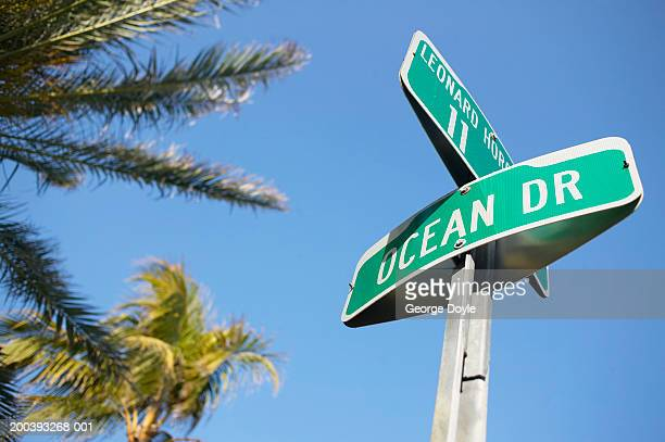 USA, Florida, Miami Beach, South Beach, Ocean Drive road sign