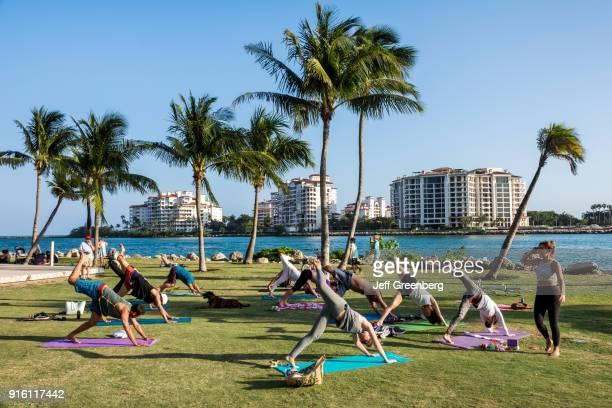 Florida Miami Beach South Pointe Park Outdoor Yoga Class