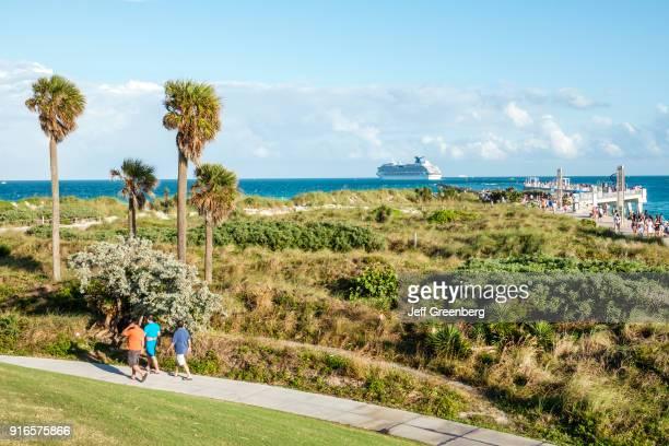 Florida Miami Beach South Pointe Park walking path through Dunes