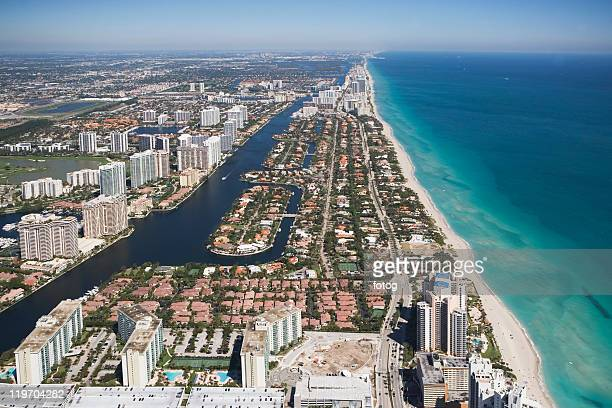 usa, florida, miami cityscape as seen from air - miami dade county stock photos and pictures