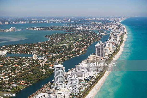 usa, florida, miami cityscape as seen from air - miami beach stock pictures, royalty-free photos & images