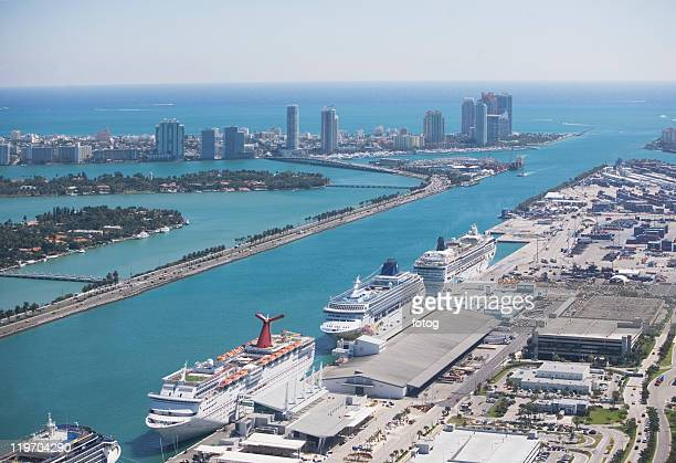 USA, Florida, Miami harbor as seen from air