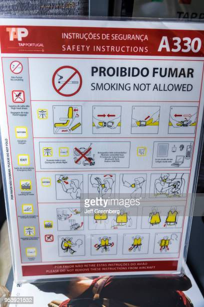 Florida Miami International Airport TAP Air Portugal aircraft safety card instructions