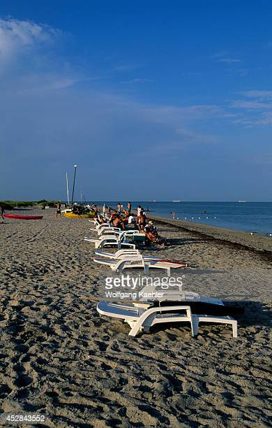 Florida, Miami, Key Biscayne, Bill Baggs Cape Florida State Park, Beach, Lounge Chairs.