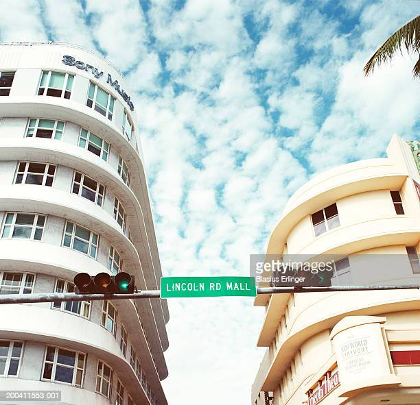 usa, florida, miami, lincoln road, low angle view - lincoln road stock pictures, royalty-free photos & images