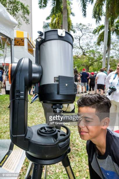 Florida Miami March for Science Boy looking in Telescope