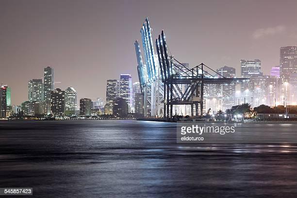 USA, Florida, Miami, Miami Beach, Port during night