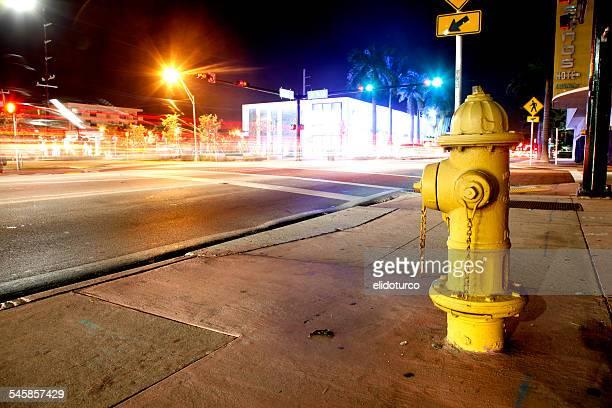 USA, Florida, Miami, Miami Beach, Yellow fire hydrant