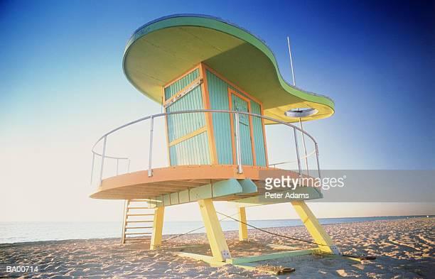 usa, florida, miami, south beach, art deco lifeguard hut - miami stock pictures, royalty-free photos & images