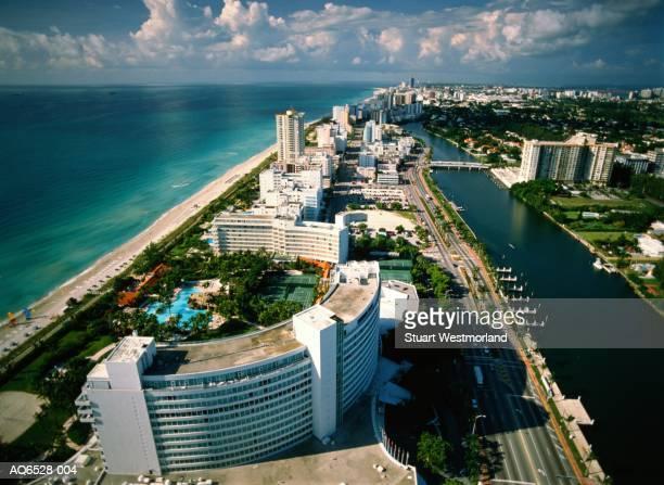 usa, florida, miami, south beach, elevated view - miami beach stock pictures, royalty-free photos & images