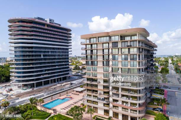 Florida, Miami, Surfside oceanfront condos, showing Champlain Towers on the right, site of the June 2021 partial building collapse.