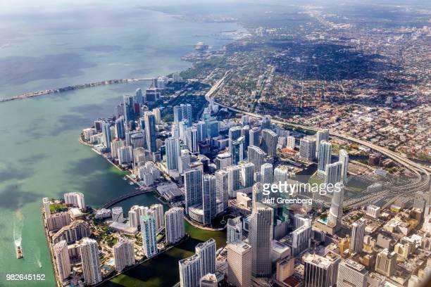 Florida Miami window seat aerial view downtown