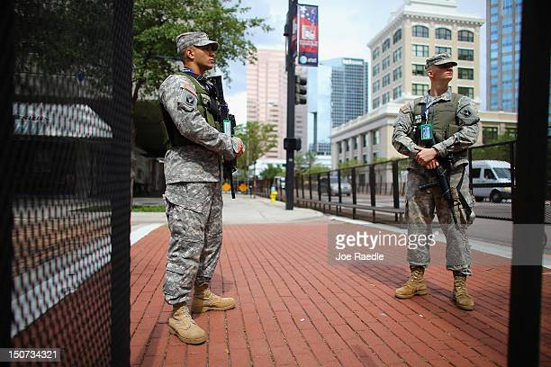Florida National Guard members are seen guarding a building as they provide security for the Republican National Convention being held at the Tampa...