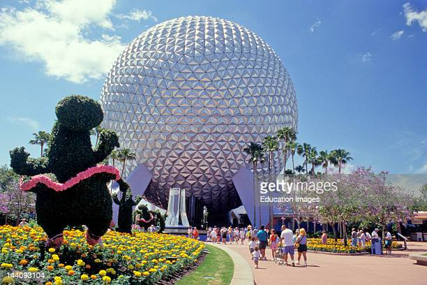 Florida Orlando Epcot Center View Including Sphere And Topiary
