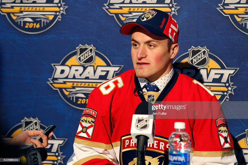 Florida Panthers Adam Mascherin gives an interview during the 2016 NHL Draft on June 25, 2016 in Buffalo, New York.