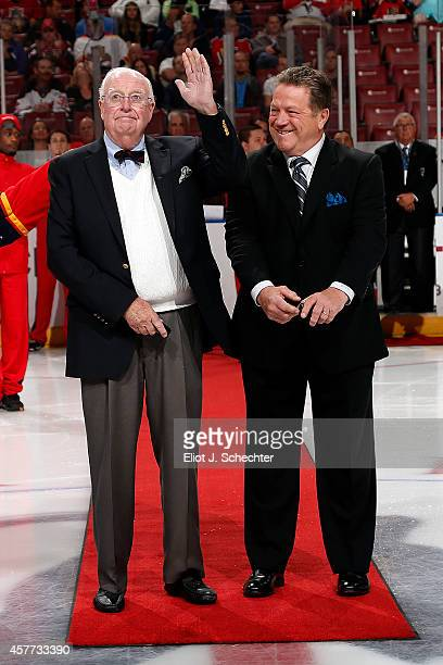 Florida Panthers Alternate Governor Bill Torey and Denis Potvin drop the ceremonial puck prior to the start of the game between the Florida Panthers...
