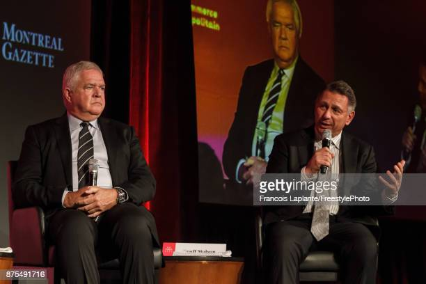 Florida Panthers and Detroit Red Wings general managers Dale Tallon and Ken Holland speak during a Q&A with host Pierre Houde part of the NHL...