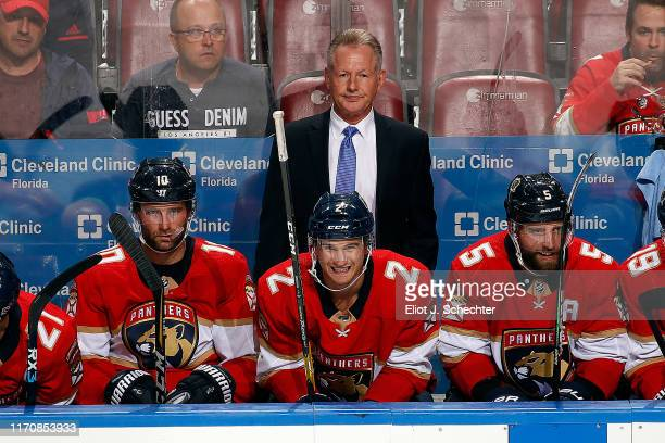 Florida Panthers Assistant Coach Mike Kitchen keeps a watchful eye on the action against the Tampa Bay Lightning at the BB&T Center on September 24,...