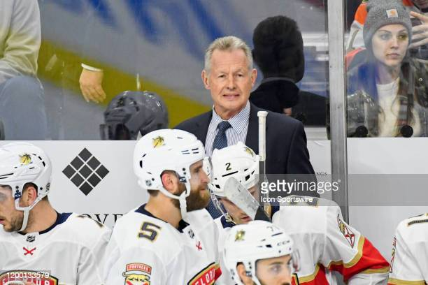 Florida Panthers assistant coach Mike Kitchen looks on during the game between the Florida Panthers and the Philadelphia Flyers on February 10, 2020...