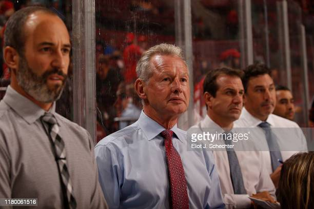 Florida Panthers Assistant Coaches Derek MacKenzie, Mike Kitchen, Goal Tending Coach Robb Tallas and Assistant Coach Andrew Brunette take notes...
