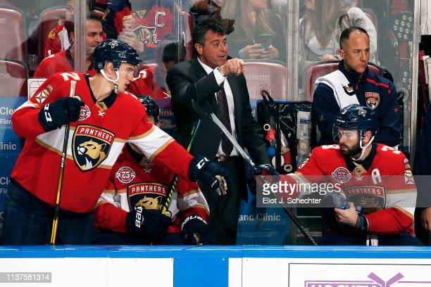 Florida Panthers Associate Coach Jack Capuano directs his team from the bench against the Arizona Coyotes at the BBT Center on March 21 2019 in...