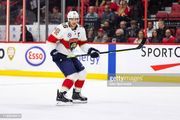 Florida Panthers Center Aleksander Barkov applies pressure on the forecheck during third period National Hockey League action between the Florida...