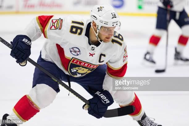 Florida Panthers Center Aleksander Barkov prepares for a faceoff during first period National Hockey League action between the Florida Panthers and...