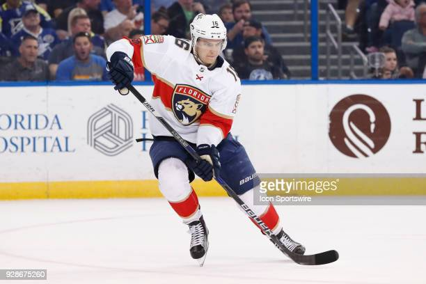Florida Panthers center Aleksander Barkov skates in the 1st period of the NHL game between the Florida Panthers and Tampa Bay Lightning on March 06...