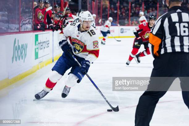 Florida Panthers Center Aleksander Barkov skates the puck into the attacking zone during first period National Hockey League action between the...