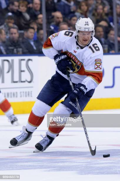 Florida Panthers Center Aleksander Barkov skates with the puck during the NHL regular season game between the Florida Panthers and the Toronto Maple...