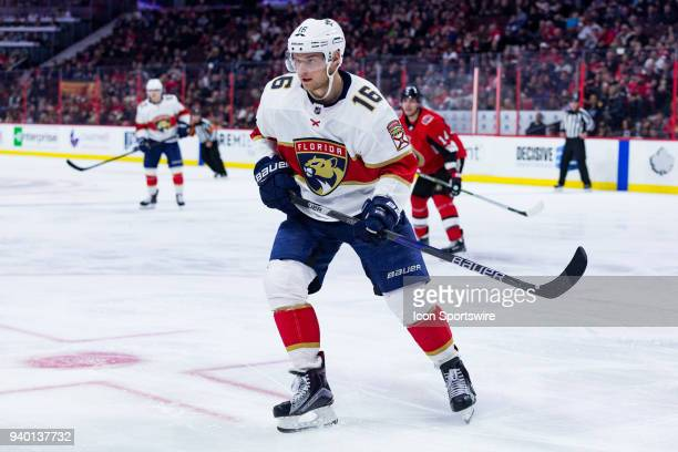 Florida Panthers Center Aleksander Barkov tracks the play during third period National Hockey League action between the Florida Panthers and Ottawa...