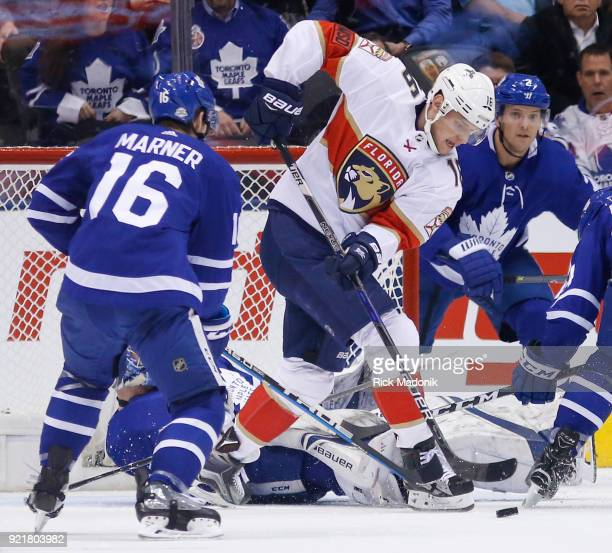 Florida Panthers center Aleksander Barkov working hard in front of the Leaf net Toronto Maple Leafs VS Florida Panthers during 1st period action in...