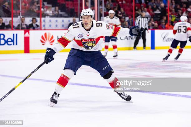 Florida Panthers Center Juho Lammikko applies pressure on the forecheck during second period National Hockey League action between the Florida...