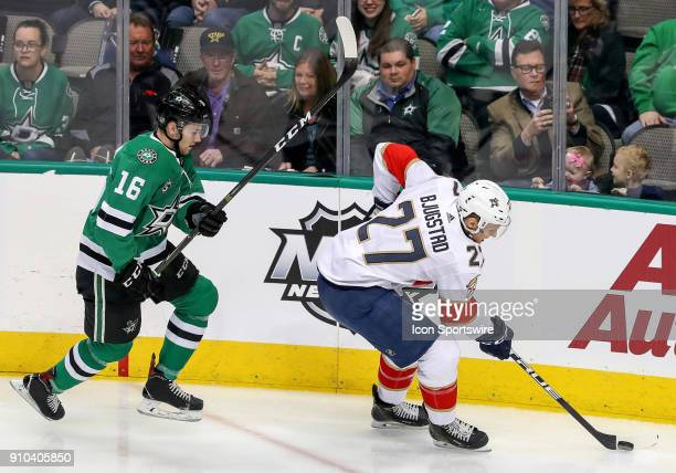 Florida Panthers center Nick Bjugstad tries to get past Dallas Stars center Jason Dickinson during the game between the Dallas Stars and the Florida...
