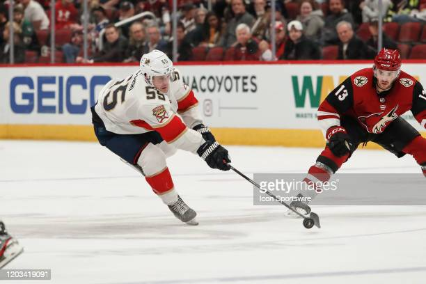 Florida Panthers center Noel Acciari tries to control the puck during the NHL hockey game between the Florida Panthers and the Arizona Coyotes on...