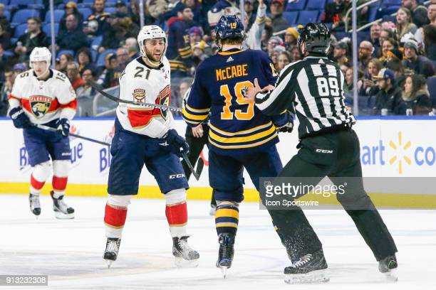 Florida Panthers Center Vincent Trocheck and Buffalo Sabres Defenseman Jake McCabe argue prior to fight during the Florida Panthers and Buffalo...