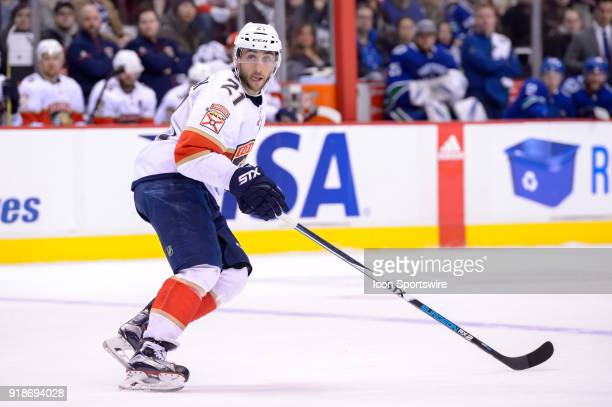 Florida Panthers Center Vincent Trocheck skates up ice during their NHL game against the Vancouver Canucks at Rogers Arena on February 14 2018 in...