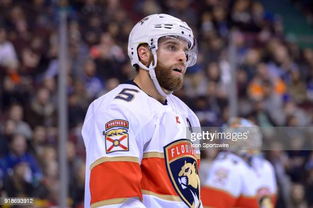 Florida Panthers Defenceman Aaron Ekblad reacts during their NHL game against the Vancouver Canucks at Rogers Arena on February 14 2018 in Vancouver...