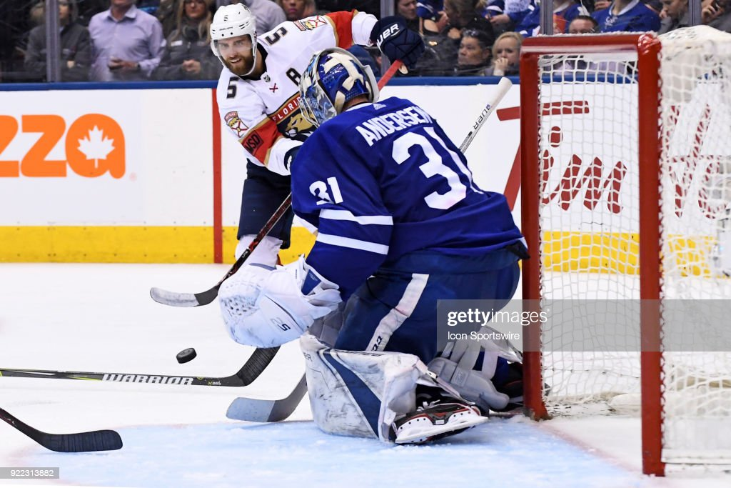 Florida Panthers Defenceman Aaron Ekblad (5) shoots on Toronto Maple Leafs Goalie Frederik Andersen (31) during the regular season NHL game between The Florida Panthers and Toronto Maple Leafs on February 20, 2018 at Air Canada Centre in Toronto, ON.