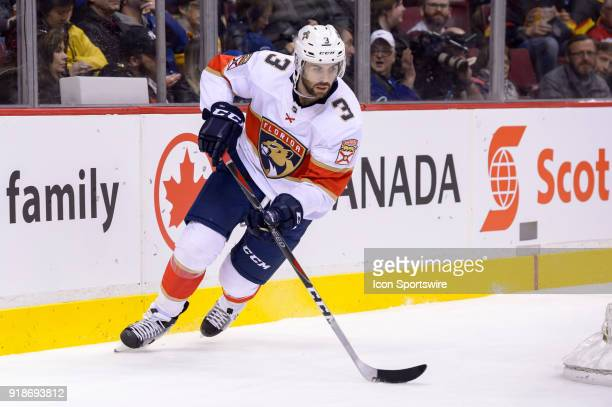 Florida Panthers Defenceman Keith Yandle skates with the puck during their NHL game against the Vancouver Canucks at Rogers Arena on February 14 2018...