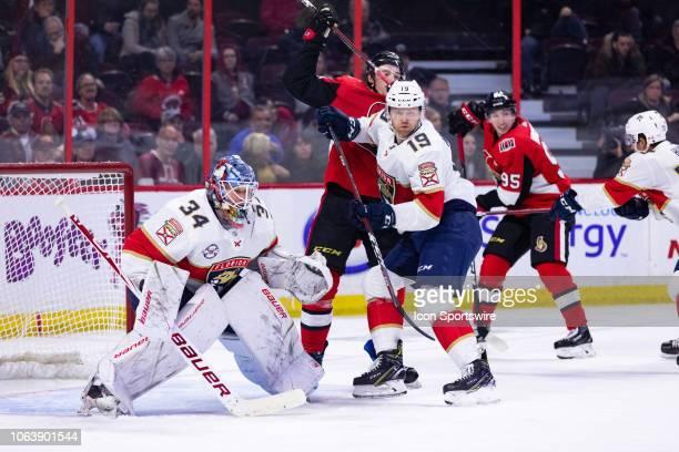Florida Panthers Defenceman Mike Matheson battles to keep Florida Panthers Goalie James Reimer crease clear during third period National Hockey...