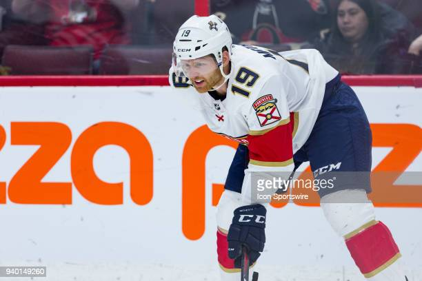 Florida Panthers Defenceman Mike Matheson prepares for a face-off during second period National Hockey League action between the Florida Panthers and...