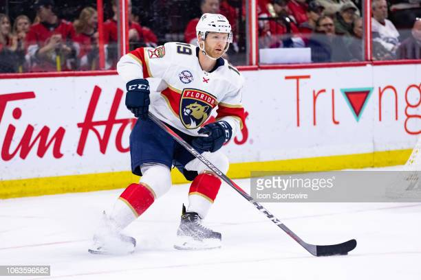 Florida Panthers Defenceman Mike Matheson skates with the puck during first period National Hockey League action between the Florida Panthers and...