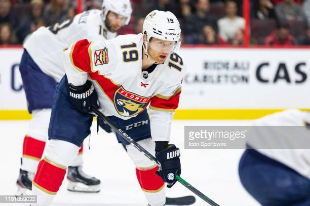 Florida Panthers defenseman Mike Matheson prepares for a face-off during second period National Hockey League action between the Florida Panthers and...