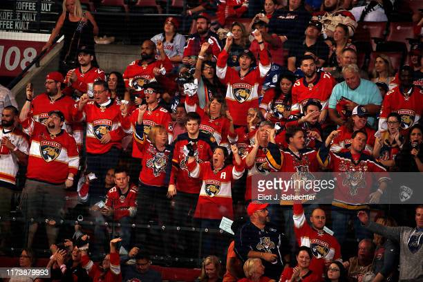 Florida Panthers fans cheer on their team against the Tampa Bay Lightning at the BB&T Center on October 5, 2019 in Sunrise, Florida.