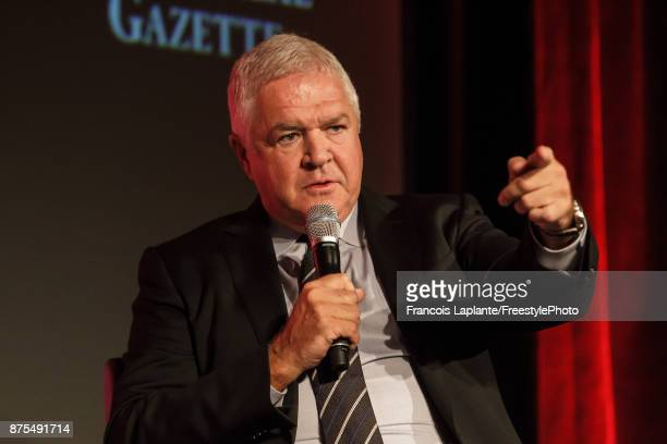Florida Panthers general manager Dale Tallon speaks during a Q&A with host Pierre Houde part of the NHL Centennial 100 Celebration at Bonaventure...