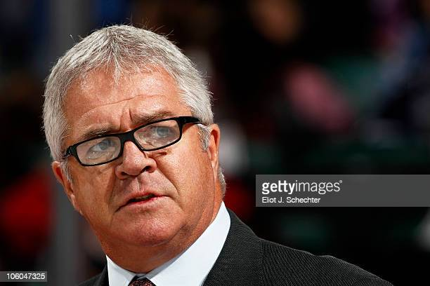 Florida Panthers General Manager Dale Tallon speaks while Bill Torrey is honored with a Tribute Night as the Florida Panthers play host to the New...