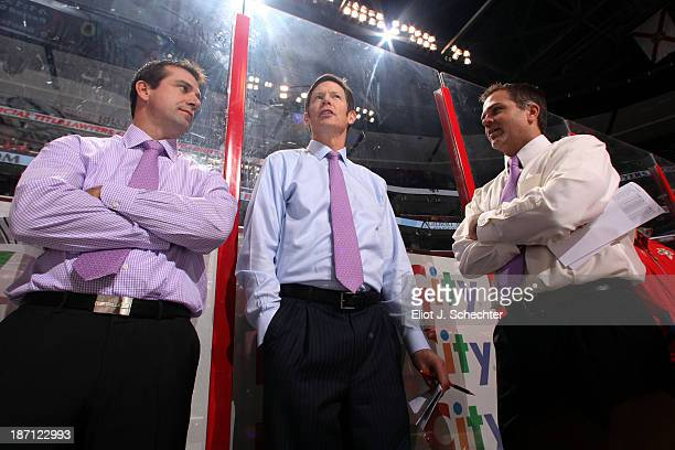 Florida Panthers Goal Tending Coach Rob Tallas and fellow Assistant Coaches Gord Murphy and Video Coach Jason Cipolla wear colored ties for Hockey...