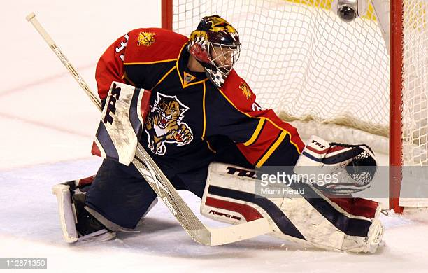 Florida Panthers goalie Craig Anderson makes a glove save in the first period against the Ottawa Senators at Bank Atlantic Center in Sunrise Florida...