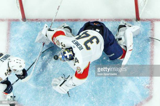 Florida Panthers Goalie James Reimer covers the puck with his body during a game between the Florida Panthers and the Carolina Hurricanes at the PNC...